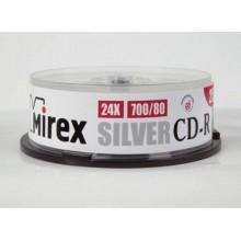 Диск CD-R Mirex 700 Mb, 24х, Silver, Cake Box (25), (25/300) арт.:UL120055A8M