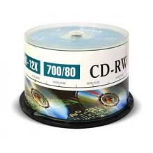 Диск CD-RW Mirex 700 Mb, 12х, Cake Box (50), (50/300) арт.:UL121002A8B