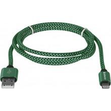Defender кабель ACH01-03T PRO USB2.0 Зеленый, AM-LightningM,1m,2.1A арт.:87810