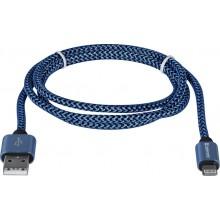 Defender кабель ACH01-03T PRO USB2.0 Синий, AM-LightningM, 1m, 2.1A арт.:87811